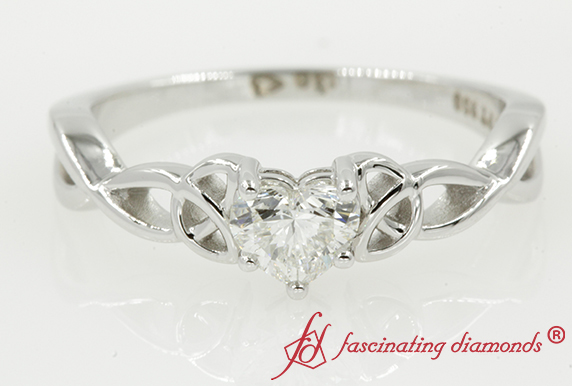 Heart Diamond Celtic Solitaire Ring