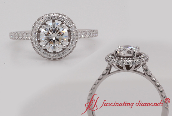 Round Cut Petite Under Halo Diamond Ring