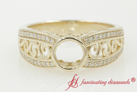 Vintage Filigree Diamond Ring Setting