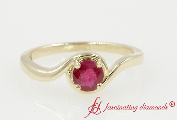 Swirl Ruby Solitaire Ring