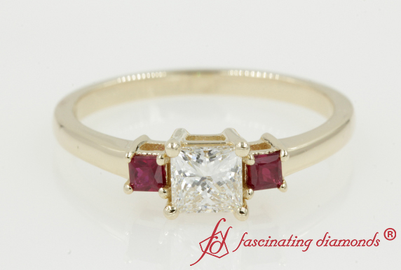 Three Stone Ring With Ruby