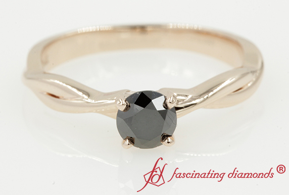 Vine Black Diamond Solitaire Ring