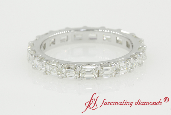White Gold Thin Emerald Cut Band