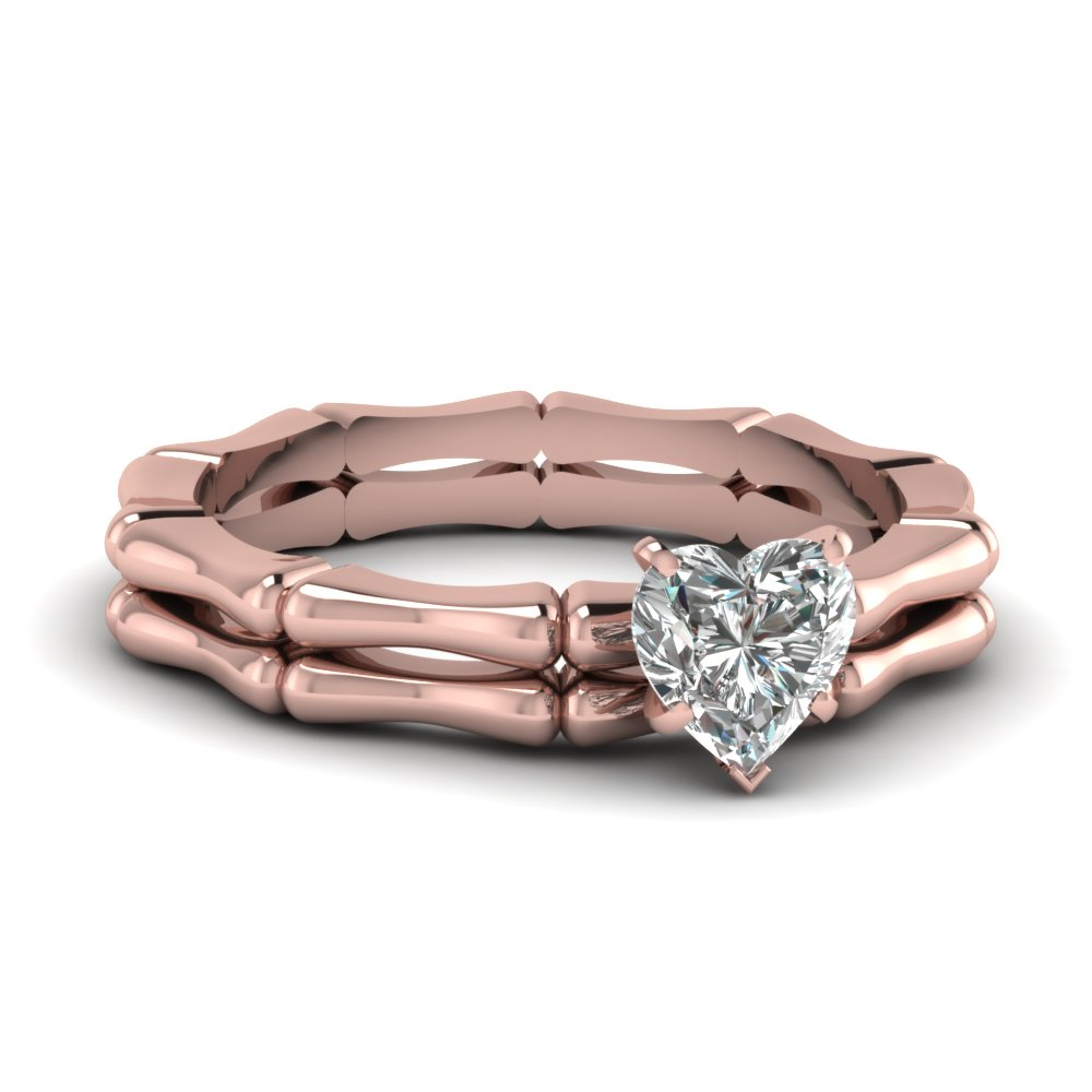 Curved Solitaire Thin Band Diamond Ring Set