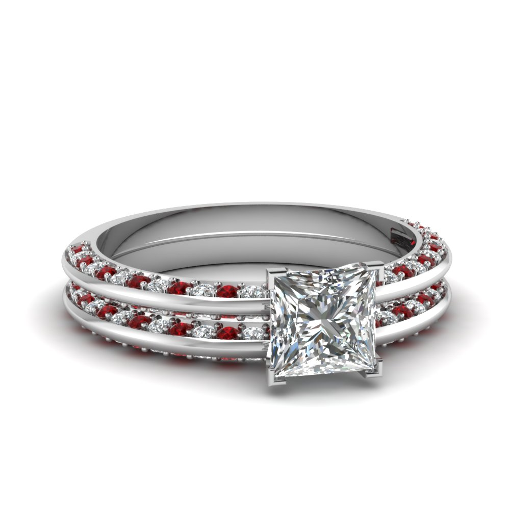 Delicate Ruby and Diamond Bridal Ring Set