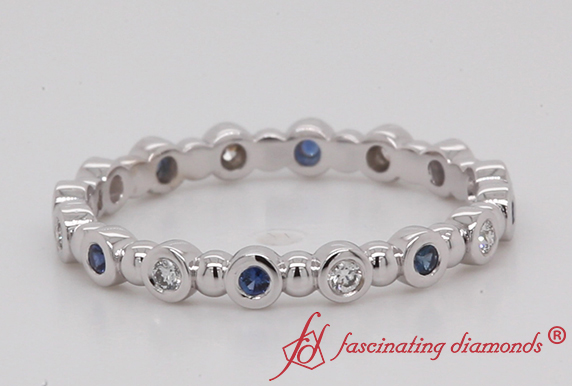 Bead Wedding Band With Sapphire