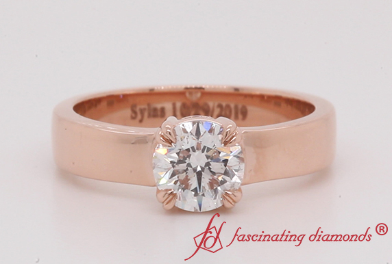 Flat Solitaire Diamond Ring