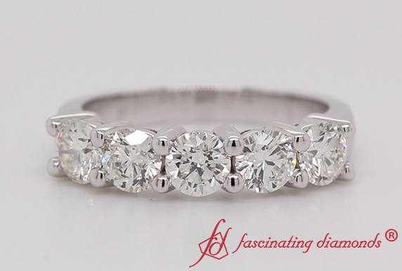 Platinum 5 Stone Wedding Ring