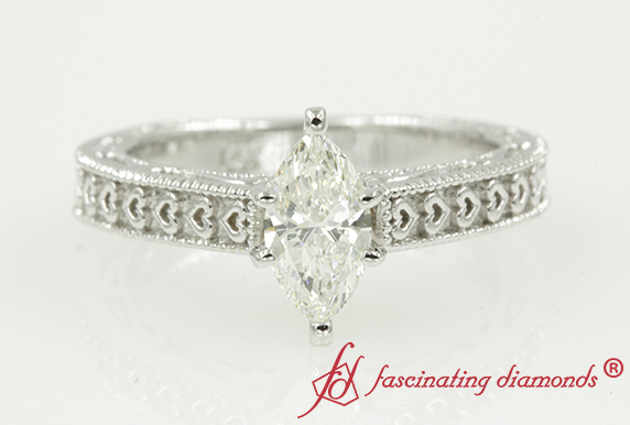 Antique Heart Design Solitaire Ring