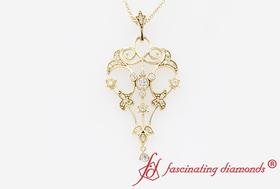 Art Deco Filigree Drop Diamond Pendant
