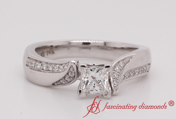 Beautiful Swirl Pave Diamond Ring