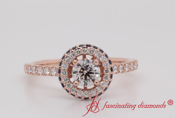 Hidden Halo Ring With Sapphire