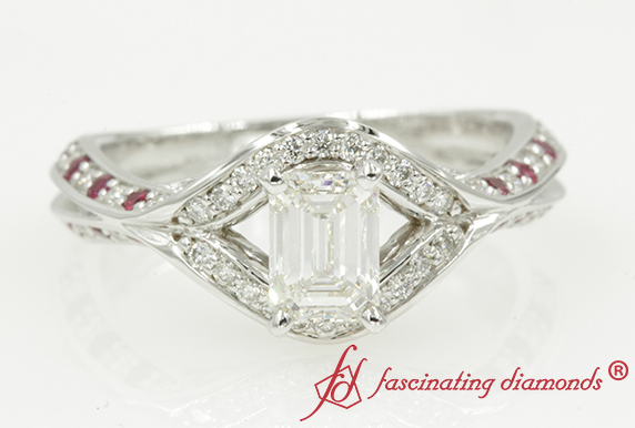 Split Crossover Halo Ring With Ruby