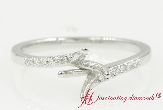Customized Semi Mount Petite Diamond Ring In White Gold