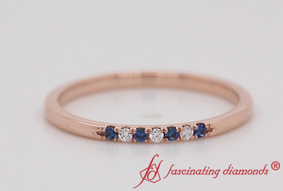 Delicate Diamond Band With Sapphire