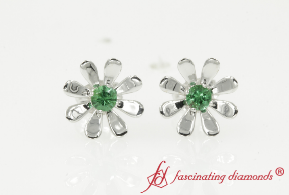 Emerald Floral Stud Earring