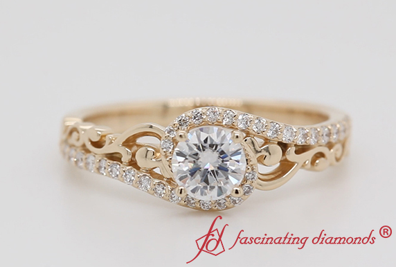 Gold Bypass Filigree Diamond Ring