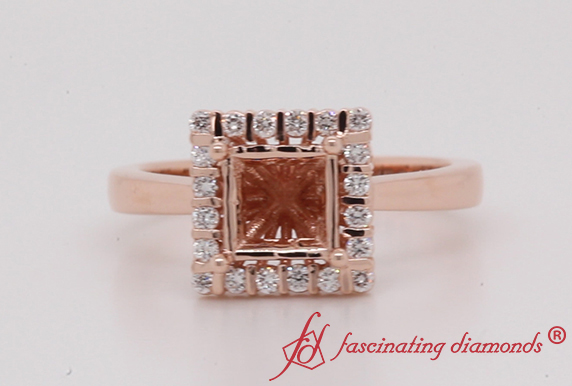 Floating Square Halo Ring Setting