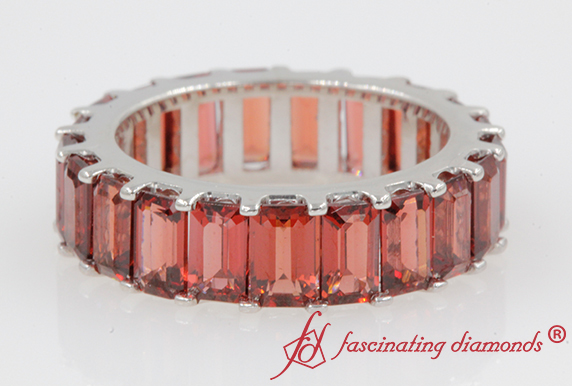 Garnet Emerald Cut Eternity Band
