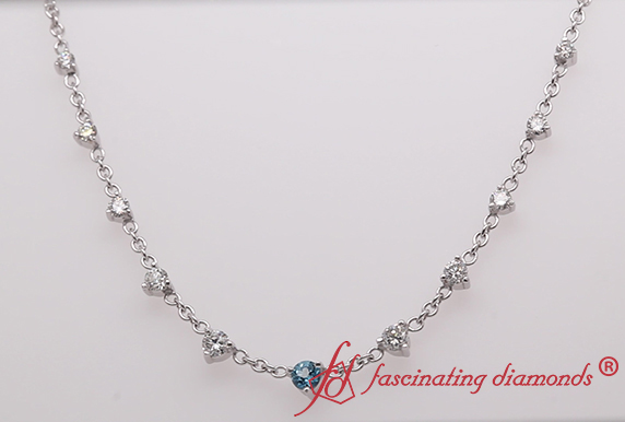 Graduated Diamond Necklace With Topaz
