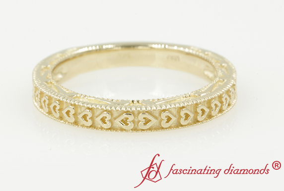 Heart Carved Milgrain Band For Her