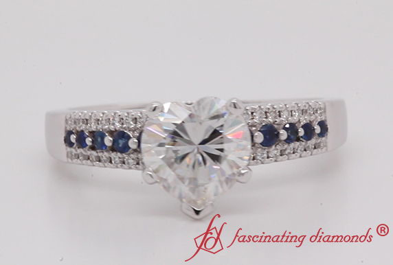 Heart Moissanite 3 Row Ring