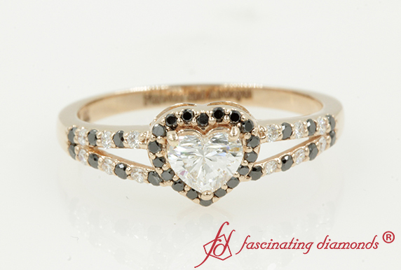 Heart Shaped Black Diamond Halo Ring