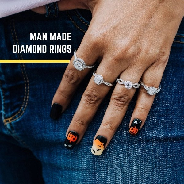 man made diamond rings