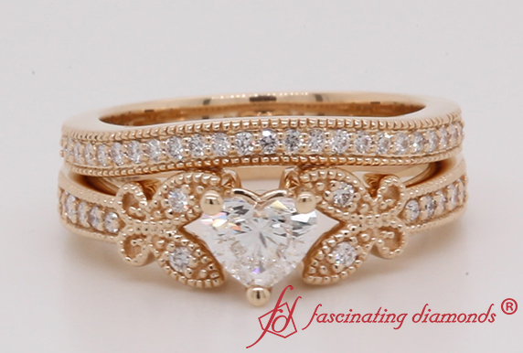 Heart Diamond Bridal Ring Set