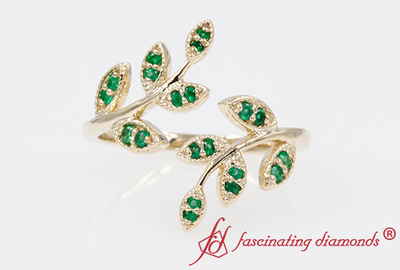Open Leaf Emerald Ring