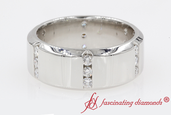 Platinum Mens Station Diamond Wedding Band