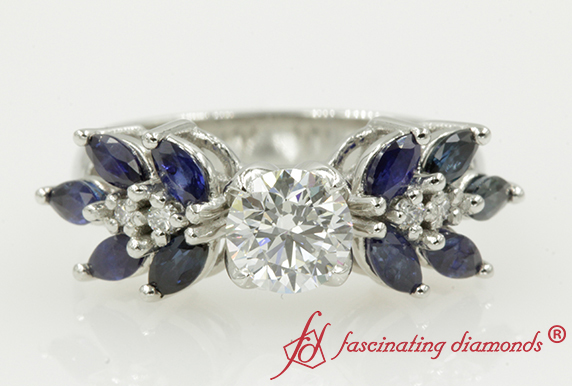 Platinum Nature Inspired Engagement Ring With Sapphire