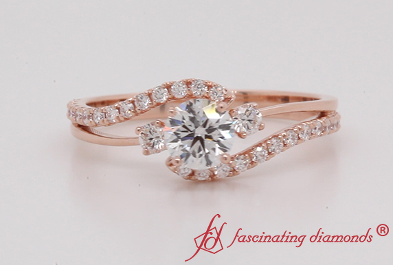 Swirl Diamond Ring In Rose Gold