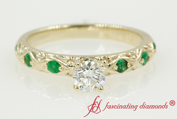 Cross Design Pave Emerald Ring