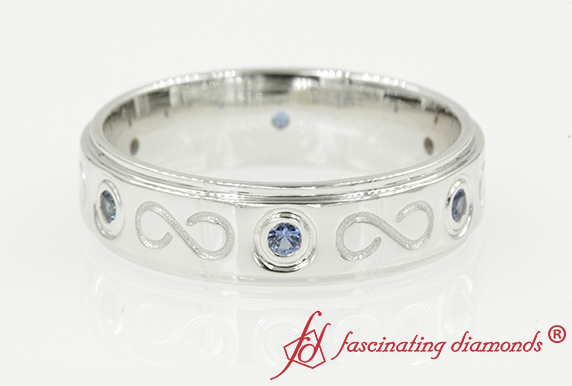 Sapphire Mens Infinity Band In 18K White Gold