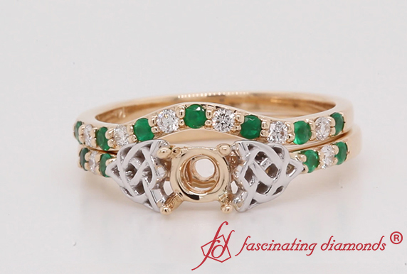 Semi Mount Celtic Ring Set With Emerald