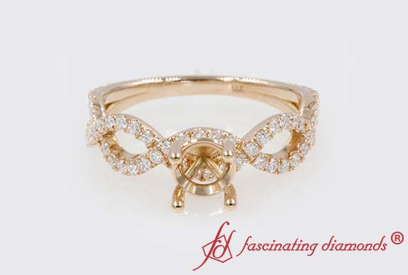 Semi Mount Infinity Diamond Engagement Ring In 18K Rose Gold