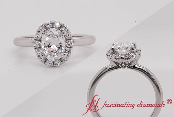 Simple Oval Halo Diamond Ring