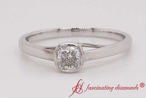 Bezel Set Cushion Diamond Ring