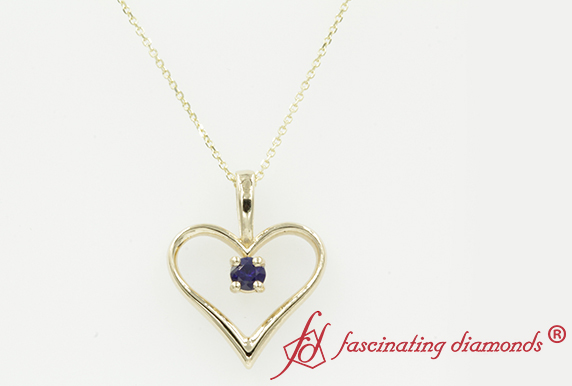 Solitaire Heart Pendant With Sapphire