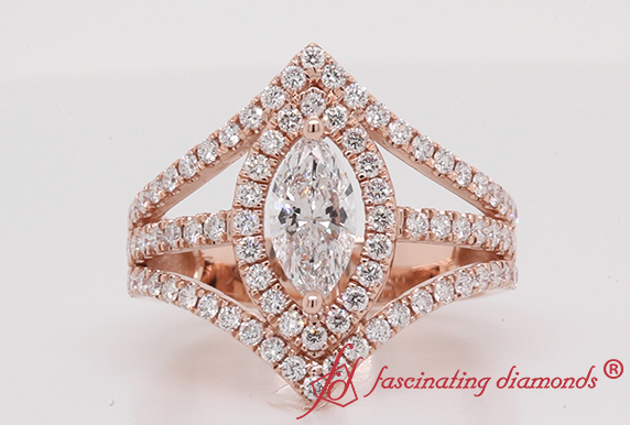 Shank Marquise Cut Engagement Halo Ring