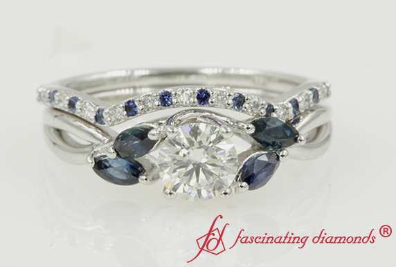 Bridal Ring Set With Sapphire