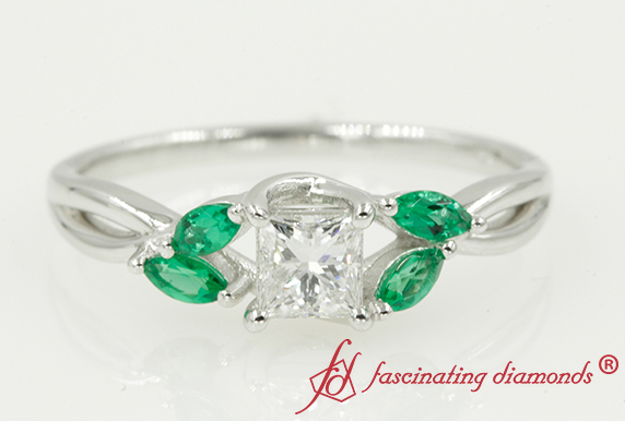 Twisted Petal Ring With Emerald