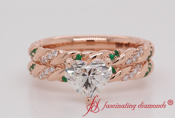 Bridal Ring Set With Emerald