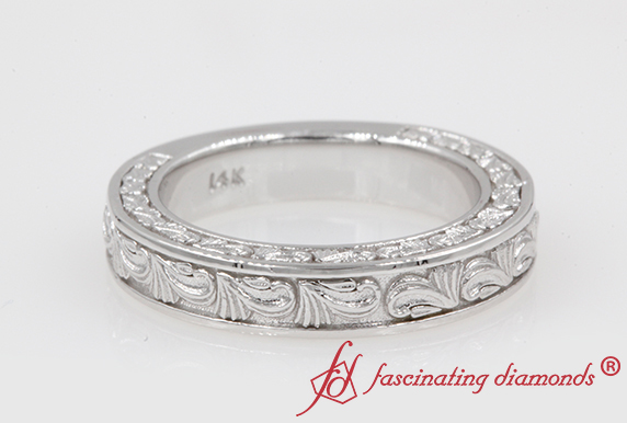 White Gold Nature Inspired Engraved Wedding Band