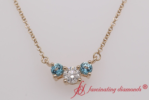 3 Stone Diamond Pendant With Topaz