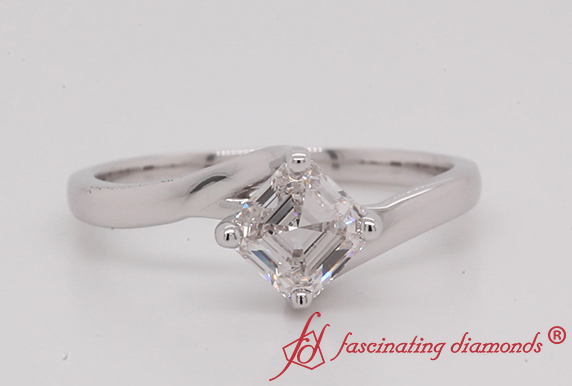 Asscher Cut Lab Created Solitaire Diamond Ring In White Gold