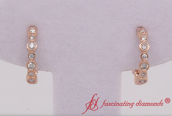 Bezel Set J Hoop Diamond Earring