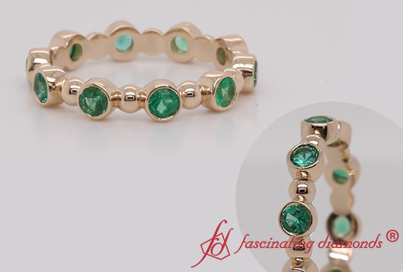 Bezel Set Emerald Bead Band