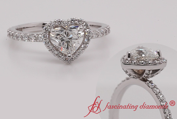 Petite Ring With Heart Halo